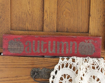 Autumn Painted Wood Sign