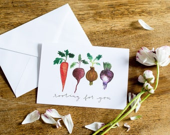 Rooting for You! // Encouraging Greetings Card // Watercolour Vegetables // You Can Do It Card // Handpainted Design // Blank Inside