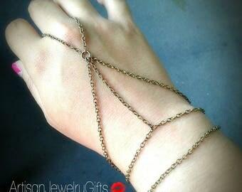 Slave Bracelet Caged Hand Chain Antique Brass Hand Chain Bohemian Slave Bracelet Bohemian Hand Chain Caged Hand Chain