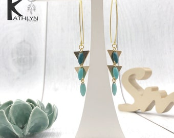 Mint green and gold dangling earrings