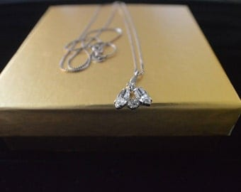 3 Stone Cubic zirconia with the silver chain