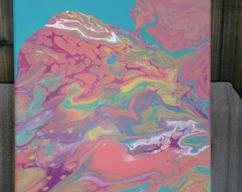 """Colorful Fluid Acrylic Abstract Painting 8""""X10"""""""