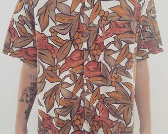 Vintage Button Up // Mens Rad 90s Party Shirt // Tropical Print Festival Design // Size Medium
