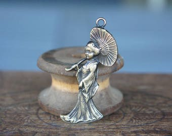 Vintage French Brass Stamping/Antique Style/Oriental Lady/Geisha/Japanese Woman/Parasol/French Findings