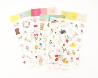 6 Sheets Floral Sticker Set Korean Stationery Planner Accessories Deco Diary Stickers