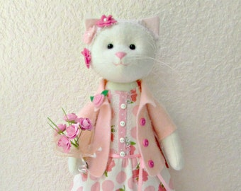 Cat-stuffed toy, Cat Handmade Doll, Cat, Cat doll, cloth doll, Doll Fabric cat , Cat in a dress, baby gift,girl gift,cat lover gift