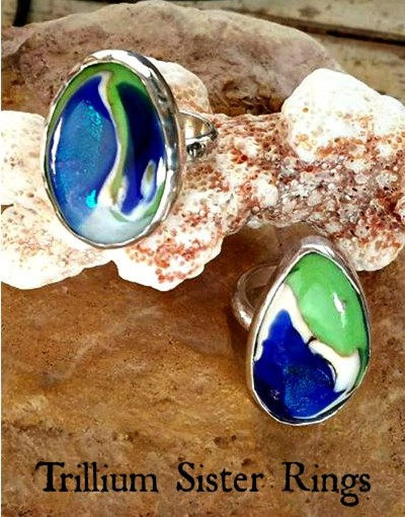 Blown Glass Memorial Ring in Sterling Silver Artist Collection
