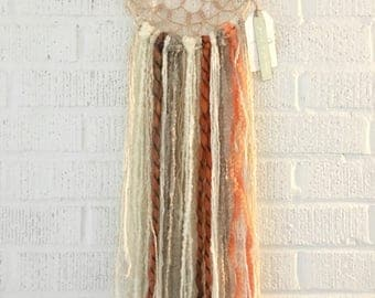 Blue/ Gray / Off white Handcrocheted Dreamcatcher