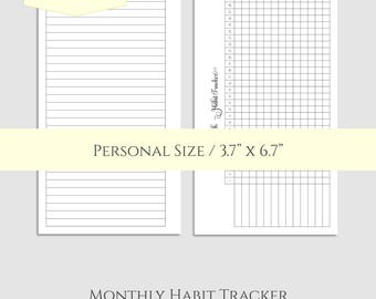 "Monthly Habit Tracker Printable Planner Inserts ~ Goal & Task Tracker Box, Habit Building Reminder ~ Personal / 3.7"" x 6.7"" Instant Download"
