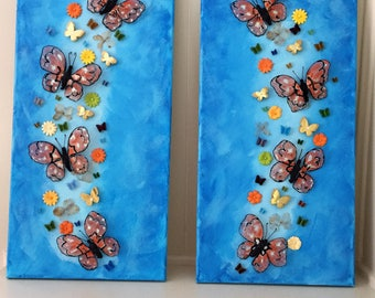 "Pair of 10 x 20"" butterflies mixed media canvases with acrylic painted background with large hand painted butterflies #mixedmedia #butterfly"