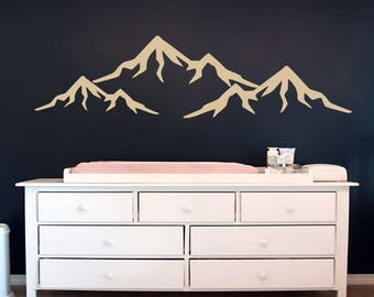 Mountain Wall Decal Vinyl Decor Boy Nursery Decal Baby Wall Decal Mountain Art Decal Boys Bedroom Decor Vinyl Stickers S108