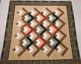 Florentine Log Cabin Quilt 45x45 Wall Hanging Sleeve Throw Handmade Machine Pieced/Quilted Patchwork Log Cabin Variation Green Brown Tan