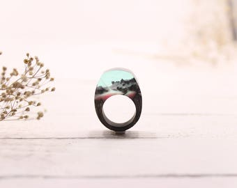 Clear ring with secret, Oak Wood ring, massive ring, Wood resin ring, glow ring,  unusual ring. Statement ring. In stock 4 3/4 size