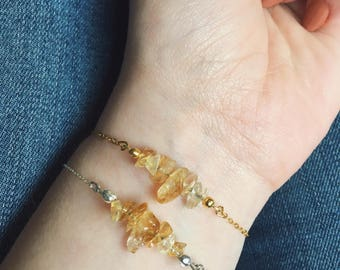 Yellow Citrine Real Gemstone Bracelet on a Delicate Sterling Silver or 14K Gold Filled Chain