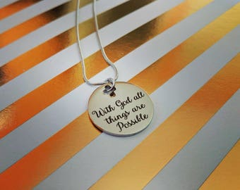 With God all things are Possible Stainless Steel Necklace