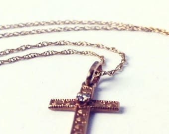 Vintage 14k Gold Cross Necklace with Diamond