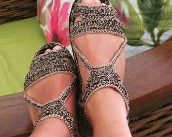 crochet sandals with rubber soles - two colors