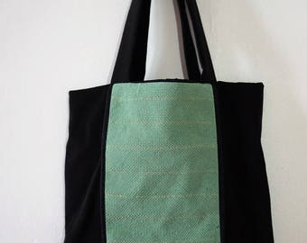 Purse in cottons and woven band, green and gold - weaving Karu