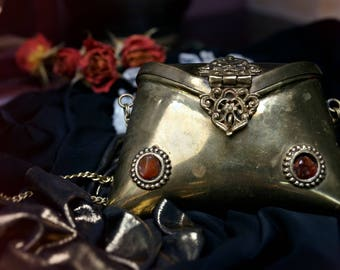 Treasure Box - Vintage Brass Purse - Jewels