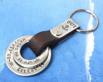 Custom cootdinates mens  keychain,Coordinate keychain,Latitude longitude keychain,Coordinates keychain,custom keychain,Personalized keychain