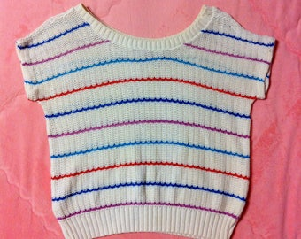 80s Vintage Knit Cotton Sweater Striped Top / 1980s Striped Sweater Knit Top