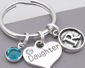 Daughter vintage style initial keyring | daughter keychain | personalised daughter keyring | daughter gift | letter | birthstone