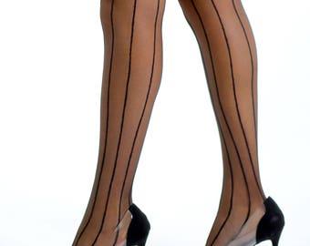 Classic Sheer 20Den Black Stripes Design Pantyhose.