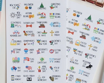 36 Holiday Planner Stickers - USA or AU/UK // Planner Stickers for Erin Condren, Happy Planners, Plum Paper, Kikki K and others.