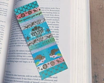 Mermaid Bookmark, Blue Bookmark, Gold Bookmark, Custom Bookmark, Book Lover, Reading Lover Gift, party favour, cute bookmark, glitter