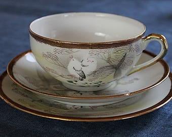 Japanese Eggshell Porcelain Trio Hand painted