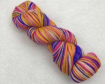 Hand Painted Self-Striping Sock Yarn - 80/10/10 Superwash Merino Cashmere Nylon - 375 yds - Summer Love