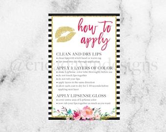 LipSense How to Apply Card // LipSense How To // Sengence // Pink and Gold LipSense