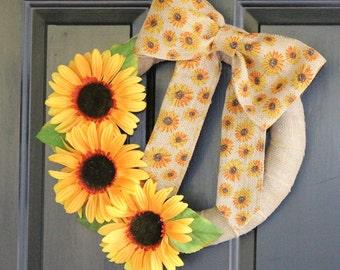 Sunflower Wreath - Fall Wreath - Summer Wreath - Country Wreath - Burlap Wreath - Farmhouse Wreath - Mother's Day - Wrapped Wreath