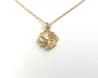 Clover Necklace 18k Yellow Gold Necklace Chain Lucky Four Leaf Clover Charm