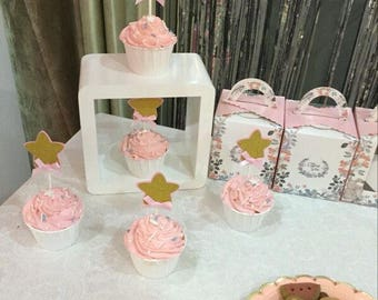 Glitter star Cupcake Topper /birthday cup cake topper/ Twinkle twinkle little star cupcake toppers/pink and gold cupcake toppers