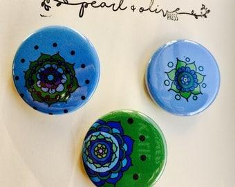 Mandala Pinback Button Set (Pack of 3)