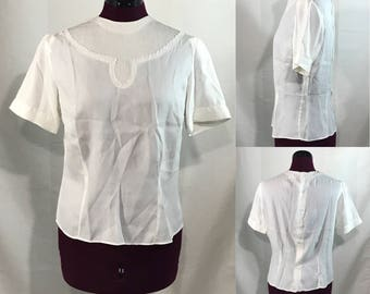 1940-50s | Womens Blouse | white rayon
