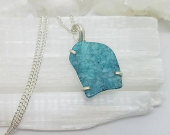 Agate Necklace Agate Crystal Agate Pendant Silver Plated Pendant Agate Crystal Necklace Blue Agate