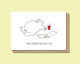 funny miss you card, Friendship card, long distance card, miss you card, thinking of you card, card for best friend, card for boyfriend