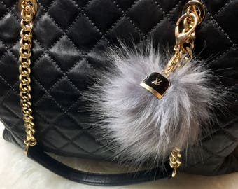 Louis Vuitton Inspired keychain Pom Pom bag charm Purse Charm Handbag charm clip Gold Bling Crystal Rhinestone charm With Fur Pom Pom