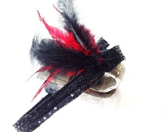 Headband with feathers 20s style woman and girls vintage Lovers. Cosplay party fascinator. Bachelor gift idea. Chinese New year accessory.