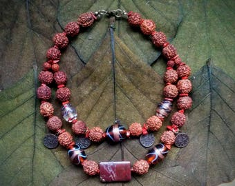 Mother's Day Rudraksha Natural Stone Jasper Necklace Yoga Meditation Healing Ethnic Necklace Amulet *Gift Box Includes And 15% READY TO SHIP