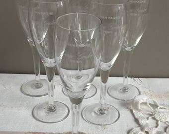 Set of 6 champagne, french Champagne flutes