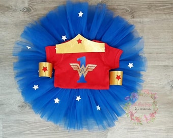 Wonder Woman Birthday Outfit, 1st first Birthday Girl Outfit, Inspired Wonder Woman Outfit, Wonder woman Outfit, SEWN Tutu, Age 1-6