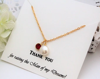 Mother of the GROOM Gift Mother In Law Gift from Bride Thank you for Raising the Man of my Dreams Personalized Necklace Coin Pearl Necklace