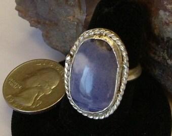 Tiffany Stone Ring Size 8 1/2 Sterling Silver Large Natural Utah Gem Statement Ring Bertrandite Handmade Utah Purple White 120 B