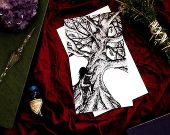 "Tree Climbing Forest Art - Small Pen Ink Original - Blind Tarot Deck Card - 4"" x 7"" - Pagan Wiccan Witch Hippie Wall Decor - Nature Lover"