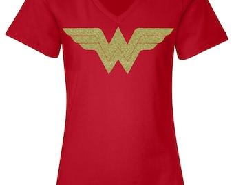 Wonder Woman Shirt Running Tank Top / Wonder Woman Marathon with Gold Shimmer WW Logo / Costume / Women's  V Neck T Shirt / Wonder Women Tee
