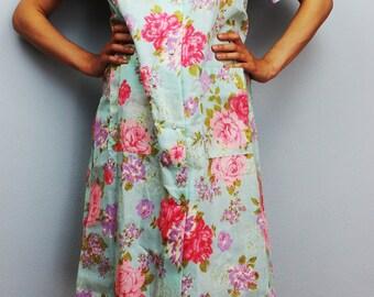 "Vintage ""KATZ"" patio dress, lounger, duster, house coat, muu muu, coral roses, 1960's era, new with tags, mid century"