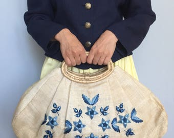 Vintage straw bag, straw bag, beach bag, wicker, woven bag,  beach bag, dirndl, straw purse, VEGAN bag